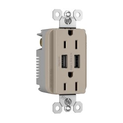 C2G (Cables To Go) / Legrand - 12842 - Radiant Dual USB Charger with Dual 15A Duplex Outlet and Screwless Wall Plate - Nickel
