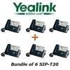 Yealink - SIP-T20 X 6 - SIP-T20 - Bundle of 6 Entry Level IP Phone SIP-T20 ( without PoE ), 2 VoIP accounts, Hotline, Emergency call, Call hold, Call waiting, Call forward, Call return, Auto-answer, 3-way conferencing, Message Waiting Indication (MWI)