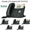 Yealink - SIP-T21P E2 X 6 - SIP-T21P E2 Bundle of 6 Entry-level IP phone 2 Lines HD voice PoE LCD