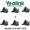 Yealink - SIP-T21P X 6 - SIP-T21P Bundle of 6 Simple VoIP Phone w/ 2 Lines HD Voice POE w/o Power Supply