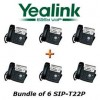 Yealink - SIP-T22P X 6 - SIP-T22P, Bundle of 6 Professional VoIP Phone w/ POE, w/o Power Supply
