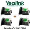 Yealink - SIP-T38G X 4 - SIP-T38G Gigabit Color LCD IP Phone 6 VoIP Accts, HD Voice Incl. Power Supply BUNDLE of 4