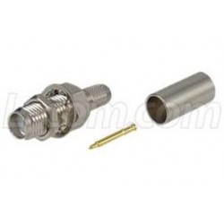 L-Com Global Connectivity - ARSJ-3700 - RP-SMA Jack Bulkhead Crimp for RG58, 195-Series Cable