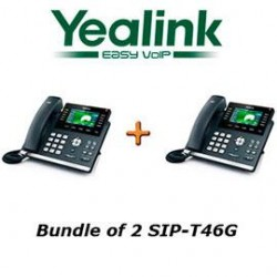 yealink sip t46g x 2 sip t46g bundle of 2 gigabit 16 line voip phone poe no power supply. Black Bedroom Furniture Sets. Home Design Ideas