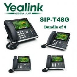 Yealink - SIP-T48G-BD4 - SIP-T48G 16 Line Gigabit VoIP Phone, Color T.S. LCD, No power Supply included, Bundle of 4
