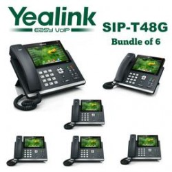 Yealink - SIP-T48G-BD6 - SIP-T48G 16 Line Gigabit VoIP Phone, Color T.S. LCD, No power Supply included, Bundle of 6