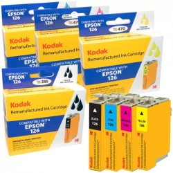 eReplacements - T127120-BCS-KD - KODAK Remanufactured Ink Cartridge Combo Pack Compatible With Epson T126 / 126 (T127120-BCS) High-Yield Black, Cyan, Yellow, Magenta - Inkjet - High Yield