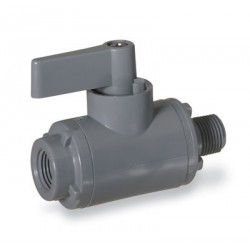 Cole-Parmer - EW-01377-24 - Ball Valve, 2-way, 1/4 NPT(F) x 1/4 NPT(M), PVC with EPDM seals; 2.0 Cv