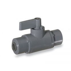Cole-Parmer - EW-01377-40 - Ball Valve, 2-way, 1/4 John Guest, PVC with Viton seals