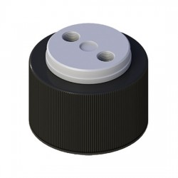 Cole-Parmer - EW-12018-19 - VapLock Solvent Delivery Cap with EPDM Air Inlet Valve, two 1/4-28 ports, GL38; 1/ea