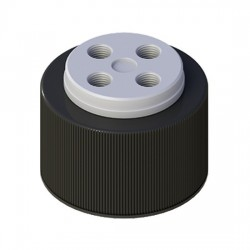 Cole-Parmer - EW-12018-21 - VapLock Solvent Delivery Cap with FFKM Air Inlet Valve, four 1/4-28 ports, GL38; 1/ea