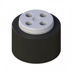 Cole-Parmer - EW-12018-23 - VapLock Solvent Delivery Cap with Viton Air Inlet Valve, four 1/4-28 ports, GL38; 1/ea
