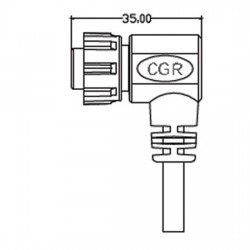 Lascar Electronics - CABLE IP-12W-RA - Lascar Electronics CABLE IP-12W-RA Right-Angle Power Cable with IP67 Connector