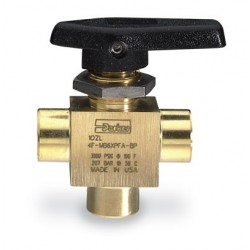 Parker Hannifin - 2F-MB4XPFA-BP - Parker Hannifin 2F-MB4XPFA-BP three-way ball valve, brass, 1/8 NPT(F)