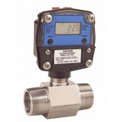 Great Plains Industries - GNT-075S2-5 - Great Plains Industries GNT-075S2-5 Precision Turbine Flowmeter, 1.6 to 16 GPM, 3/4 NPT(M), with display