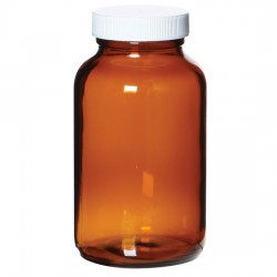 Cole-Parmer - EW-35204-64 - APC1232 Wide-Mouth Preserved Amber Glass Bottles, 250 mL, 1 mL 1:1 H2SO4; 24/Cs