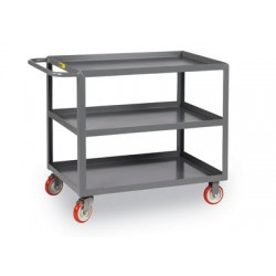 Brennan - 3LGL-1832-BRK - Utility Cart 3 Lip Edge Shelf 35x18x32 1000 Pound Polyurethane Wheel Little Giant, Ea