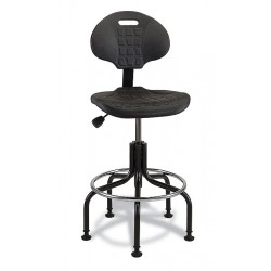 Bevco Precision - 7600-BLACK - Bevco 7600-BLACK Polyurethane chair, black, seat height 23' - 28', plated tubular steel base