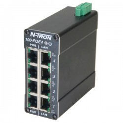 Advantech - 100-POE4 - N-Tron 100-POE4 4 port 10/100BaseTX Industrial Ethernet PoE Midspan Power Injector, DIN-Rail
