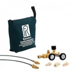 Ralston Instruments - QTCM-1KPSIG-M - Ralston Instruments QTCM-1KPSIG-M Calibration Manifold w/Analog Gauge; 1/4 NPTM/Brass