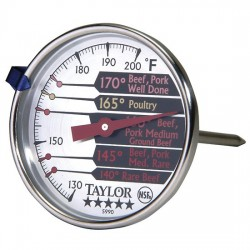 Taylor Precision - 5990N - Taylor 5990N Pro Series Analog Bimetal Meat Thermometer with Extra-Large Easy-Read Dial