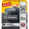 "Clorox - 78952 - Glad Drawstring Black Trash Bags - Large Size - 30 gal - 30"" Width x 32.99"" Length x 1.05 mil (27 Micron) Thickness - Black - 90/Carton - 90 Per Box - Garbage, Indoor, Outdoor"