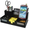 "Victor Technology - 9525-5 - Victor 9525-5 Midnight Black Desk Organizer with Smart Phone Holder™ - 6 Compartment(s) - 3.5"" Height x 5.5"" Width x 10.4"" Depth - Black - Frosted Glass, Wood, Rubber - 1Each"