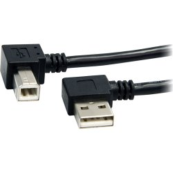 StarTech - USB2HAB2RA3 - StarTech.com 3 ft A Right Angle to B Right Angle USB Cable - M/M - USB - 3 ft - 1 x Type A Male USB - 1 x Type B Male USB