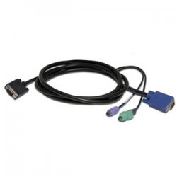 Avocent - CBL0029-8 - Avocent LCD Console KVM Cable - HD-15 Male - HD-15 Male, mini-DIN (PS/2) Male, Type A Male USB - 6ft - Black
