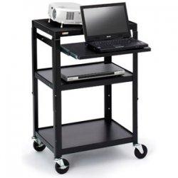 Bretford - A2642NSE - Bretford A2642NSE Multipurpose Cart - 3 x Shelf(ves) - 42 Height x 24 Width x 18 Depth - Steel, Steel - Black