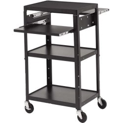 Bretford - A2642DNS-E5 - Bretford Basics A2642DNS-E5 Multimedia Cart with 6-Outlet Electrical - 4 Casters - 5 Caster Size - Steel - 24 Width x 18 Depth x 43 Height - Black