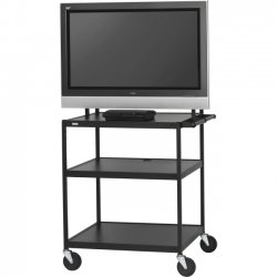 "Bretford - FP42UL-P5BK - Bretford Basics FP42UL-P5BK Flat Panel Cart - 26"" to 42"" Screen Support - 75 lb Load Capacity - 3 x Shelf(ves) - 66"" Height x 32"" Width x 27"" Depth - Powder Coated - Steel - Black"