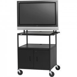 "Bretford - FP42ULC-E5BK - Bretford Basics FP42ULC-E5BK Flat Panel Cabinet Cart - 26"" to 42"" Screen Support - 75 lb Load Capacity - 3 x Shelf(ves) - Locking Door - 66"" Height x 32"" Width x 27"" Depth - Powder Coated - Steel - Black"