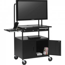 "Bretford - FP42MULC-P5BK - Bretford Basics FP42MULC-P5BK Flat Panel Cart - 26"" to 42"" Screen Support - 75 lb Load Capacity - 4 x Shelf(ves) - Locking Door - 66"" Height x 32"" Width x 27"" Depth - Powder Coated - Steel - Black"