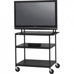 "Bretford - FP60UL-P5BK - Bretford Basics FP60UL-P5BK TV Stand - 37"" to 52"" Screen Support - 100 lb Load Capacity - 3 x Shelf(ves) - 66"" Height x 37"" Width x 27"" Depth - Powder Coated - Steel - Black"