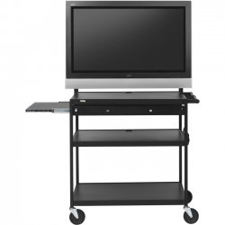 "Bretford - FP60MUL-P5BK - Bretford Basics FP60MUL-P5BK TV Stand - 37"" to 52"" Screen Support - 100 lb Load Capacity - 4 x Shelf(ves) - 66"" Height x 37"" Width x 27"" Depth - Powder Coated - Steel - Black"