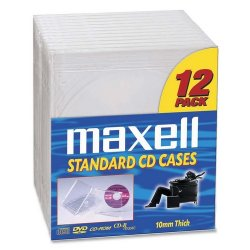 Maxell - 190069 - Maxell CD/DVD Jewel Cases CD-360 - Jewel Case - Book Fold - Plastic - Clear - 12 CD/DVD