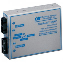 Omnitron - 4411-1 - FlexPoint 100Mbps Ethernet Fiber to Fiber Media Converter SC Multimode 5km to Single-Mode 30km - 1 x 100BASE-FX; 1 x 100BASE-LX; US AC Powered; Lifetime Warranty