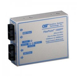 Omnitron - 4433-1 - FlexPoint 1000Mbps Gigabit Ethernet Fiber to Fiber Media Converter SC Multimode 550m to Single-Mode 12km - 1 x 1000BASE-SX;1 x 1000BASE-LX;US AC Powered;Lifetime Warranty