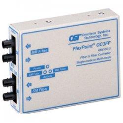 Omnitron - 4450-1 - Omnitron Systems FlexPoint OC3FF Single-Mode to Multimode Fiber Converter - 2 x ST - OC-3 - Rack-mountable