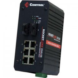 Comtrol - 32056-2 - Comtrol RocketLinx ES8108F Fast Ethernet Industrial Switch - 8 x 10/100Base-FX, 2 x 100Base-FX
