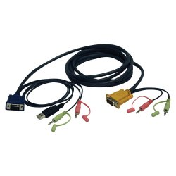 "Tripp Lite - P756-010 - Tripp Lite 10ft VGA / USB / Audio Cable Kit for B006-VU4-K-R KVM Switch - 10 ft - 1 x HD-15 Male VGA, 2 x Mini-phone Male Stereo Audio - 1 x HD-15 Male VGA, 1 x Type A Male USB, 2 x Mini-phone Male Stereo Audio - Dark Gray"""