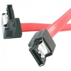 StarTech - LSATA12RA1 - StarTech.com 12in Latching SATA to Right Angle SATA Serial ATA Cable - Male SATA - Male SATA - 12 - Red
