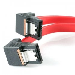 StarTech - LSATA18RA2 - StarTech.com 18in Right Angle Latching SATA Serial ATA Cable - Male SATA - Male SATA - 1.5ft - Red