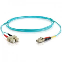 C2G (Cables To Go) - 21622 - C2G 8m LC-SC 10Gb 50/125 OM3 Duplex Multimode PVC Fiber Optic Cable (USA-Made) - Aqua - Fiber Optic for Network Device - LC Male - SC Male - 10Gb - 50/125 - Duplex Multimode - OM3 - 10GBase-SR, 10GBase-LRM - USA-Made - 8m -
