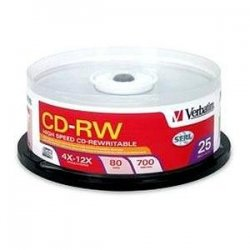 Verbatim / Smartdisk - 95155 - Verbatim CD-RW 700MB 4X-12X High Speed with Branded Surface - 25pk Spindle - 700MB - 25 Pack