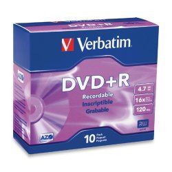 Verbatim / Smartdisk - 95097 - Verbatim AZO DVD+R 4.7GB 16X with Branded Surface - 10pk Slim Case - 2 Hour Maximum Recording Time