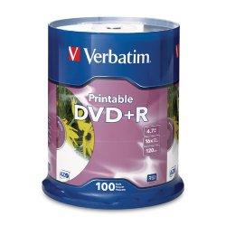 Verbatim / Smartdisk - 95145 - Verbatim DVD+R 4.7GB 16X White Inkjet Printable - 100pk Spindle - 120mm - Printable