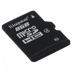 Kingston - SDC4/8GBSP - Kingston 8GB Micro Secure Digital High Capacity (SDHC) Card - Class 4 - 8 GB