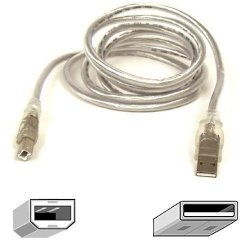 Belkin / Linksys - F3U133-10-CBL - Belkin USB 2.0 Cable - Type A Male - Type B Male - 10ft - Ice Clear